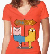Finn & Jake- CatDog Women's Fitted V-Neck T-Shirt