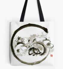 Aikido enso circle martial arts sumi-e original ink painting artwork Tote Bag