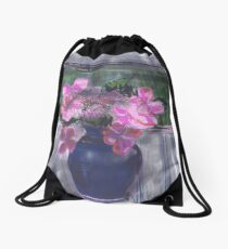 LaceCap Hydrangea in Blue Vase Drawstring Bag