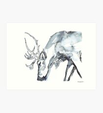 Watercolor Reindeer  Art Print