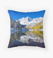 Maroon Lake and Bells, Aspen Throw Pillow