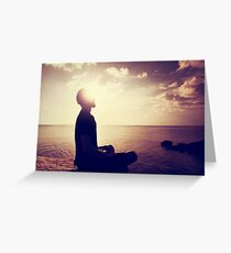 Sunset Meditation in Purple Greeting Card