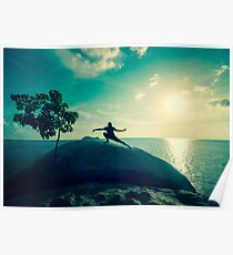 Sunset Tai Chi in Turquoise Poster