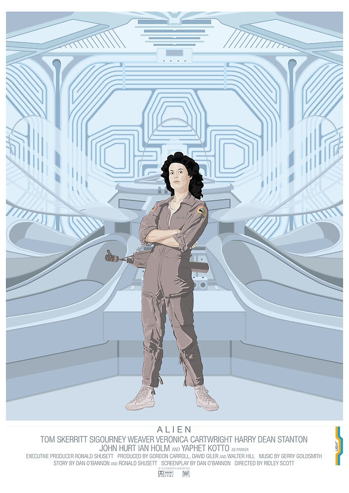 Alien (1979) Movie Poster - feat. Ripley by Peter Cassidy