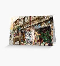 Graffiti Artists at Work in Hosier Lane Melbourne  Greeting Card