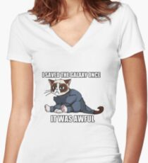 Commander Grumpy Women's Fitted V-Neck T-Shirt
