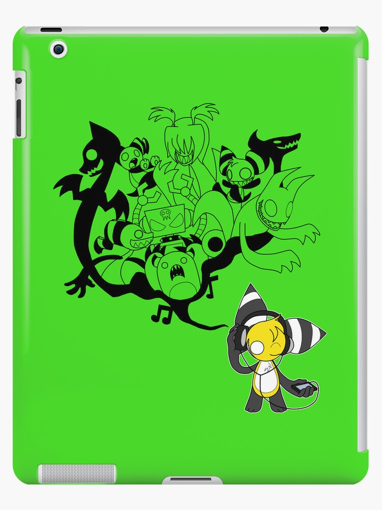 Music Demon Green iPad Case (Black Outline) by NeroStreet