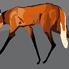 Maned wolf with gray background by stellarmule