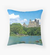 The Lake at Central Park Throw Pillow