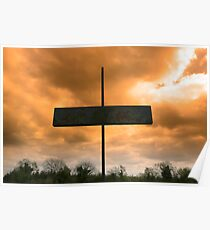 metal cross against a red stormy sky Poster