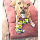 Lounge dog watercolor by Mike Theuer