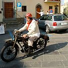 Classic motorcycle and rider by bertipictures