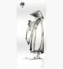 Buddhist monk with a bowl zen calligraphy 禅 original ink painting artwork Poster