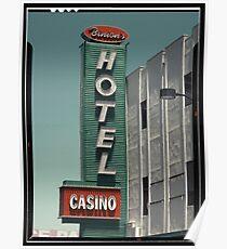 Las Vegas Hotel Neon Sign in Kodachrome Poster