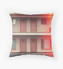 Pink Motel with swimming pool in Kodachrome Throw Pillow