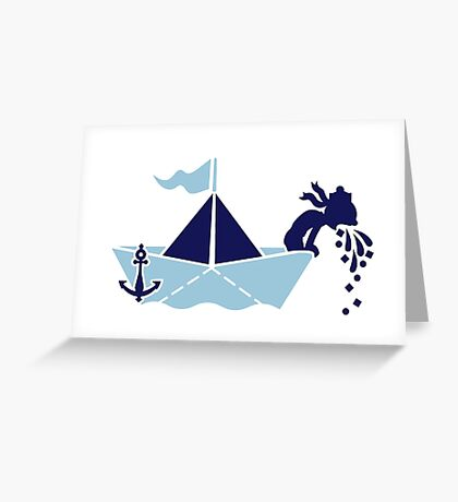 Seasick: Barfing Sailor on a Paper Boat VRS2 Greeting Card
