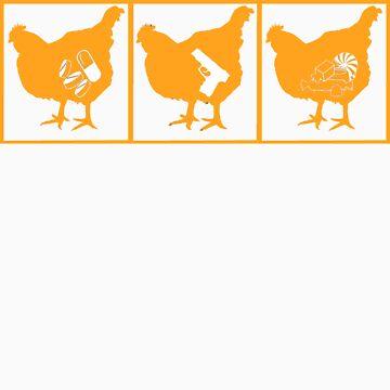 The Chickening - Orange on Black by jamaziing