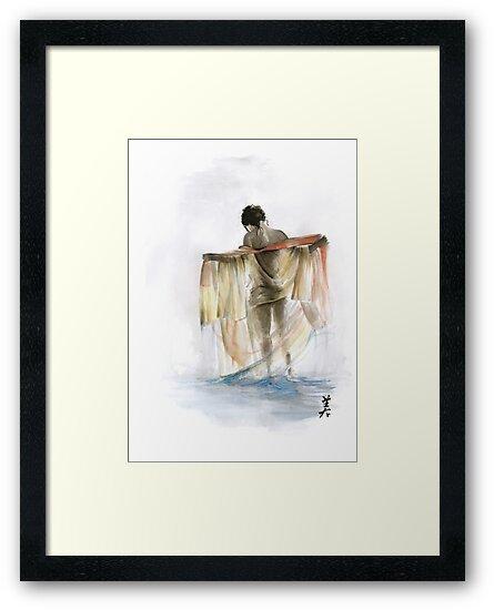 Japanese nude geisha woman wearing asian oriental colorful kimono original watercolor painting  by Mariusz Szmerdt