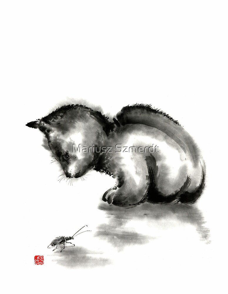 Funny cute little black cat and beetle Japanese sumi-e original ink painting art print by Mariusz Szmerdt
