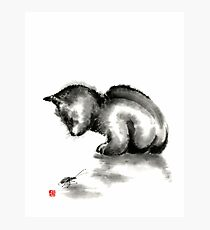 Funny cute little black cat and beetle Japanese sumi-e original ink painting art print Photographic Print