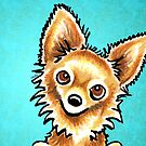 Long Haired Tan Chihuahua by offleashart