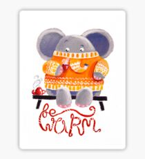 Be Warm! - Rondy the Elephant in his favorite sweater Sticker
