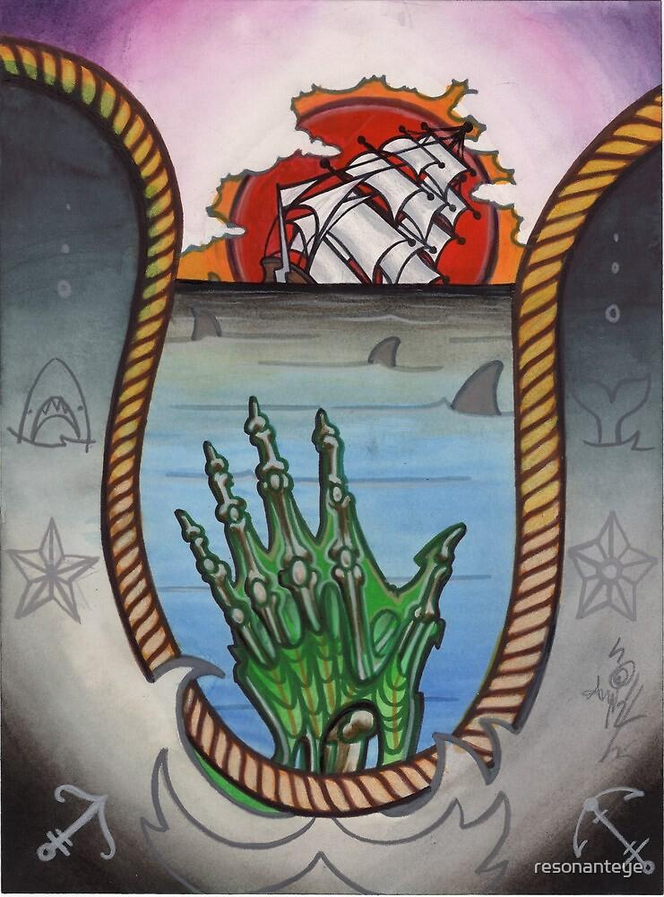 hold fast; sinking ship tattoo flash, zombie tattoo art by resonanteye