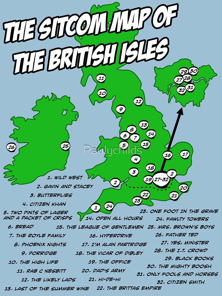 The Sitcom Map of the British Isles TShirts  Hoodies by