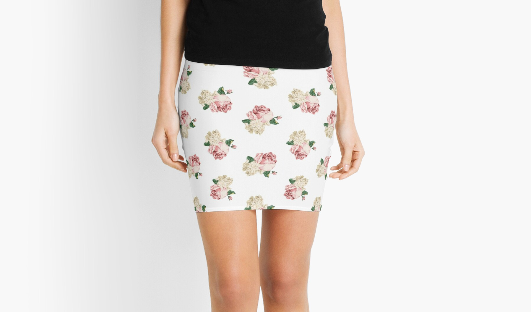 Rambling Rose With White Flowers Mini Skirts By Raan Redbubble