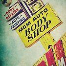 MGM Auto Body Shop Vintage Sign by Honey Malek