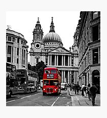 St Paul's Cathedral, London and a London Bus Photographic Print