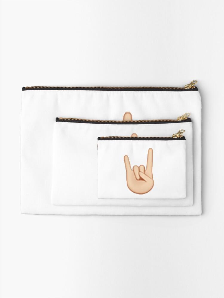 Alternative Ansicht von Felsen Hand Emoji Täschchen