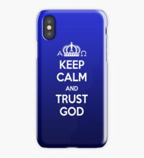Religious Christian iPhone 6 Case Cover Keep Calm And Trust God Blue iPhone Case/Skin