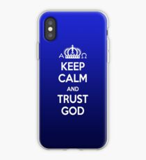 Religious Christian iPhone 6 Case Cover Keep Calm And Trust God Blue iPhone Case