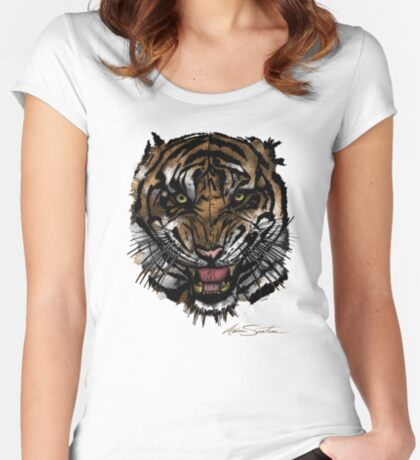 Tiger Face (Signature Design) Women's Fitted Scoop T-Shirt