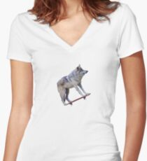 Wolfboarding Women's Fitted V-Neck T-Shirt