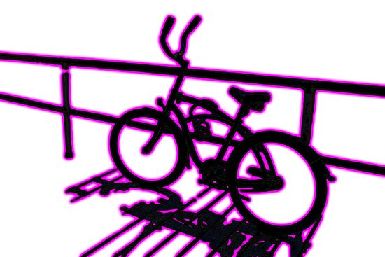 Boardwalk Bicycle Pink by GalleryThree