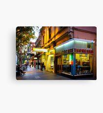 Espresso Bar Cafe on a City Street Canvas Print