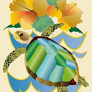 Pretty Sea Turtle Tropical Yellow Hibiscus Flowers by beverlyclaire