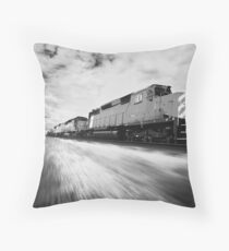 Fast Speeding Train Throw Pillow