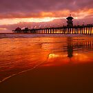 Huntington Beach at Sunset by printscapes