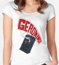 """""""Geronimo!"""" The 11th Doctor Women's Fitted Scoop T-Shirt"""