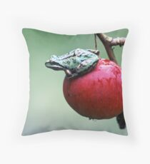 Pacific Tree Frog On A Crab Apple Throw Pillow