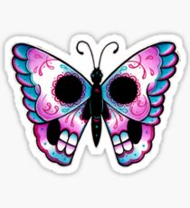 Sugar Skull Butterfly Tattoo Flash Sticker