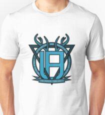 Uncommon Familiarity - Blue Geometric Stag Print T-Shirt