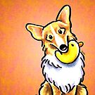 Corgi Fawn/White with Rubber Duck Orange by offleashart