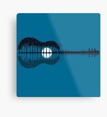 Trees sea and the moon turned guitar Metal Print