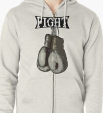 Fight - Vintage Boxing Gloves  v2 Zipped Hoodie