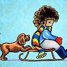Chocolate Lab Puppy Sled Team by offleashart