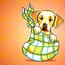 Yellow Lab New Puppy Orange by offleashart